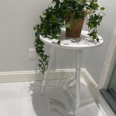 128: White Painted Table with Faux Plant