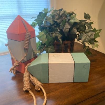 130: Set of Three Decorative Items, Buoys and Faux Plant