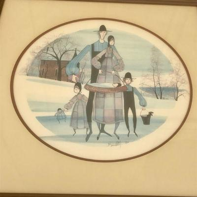 Vintage Limited Edition Framed Print 966/1000 by P. Buckley Moss family of 5 with black cat in bucket and doll 26