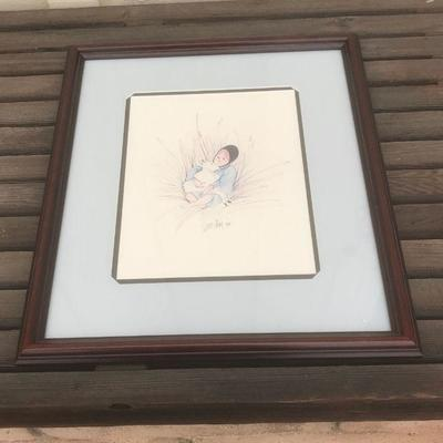 Amish girl with lamb in lap, Framed limited edition print  #1761/2000 by P. Buckley Moss, 15