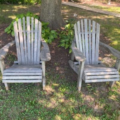 143: Pair of Salt Treated Adirondack Chairs