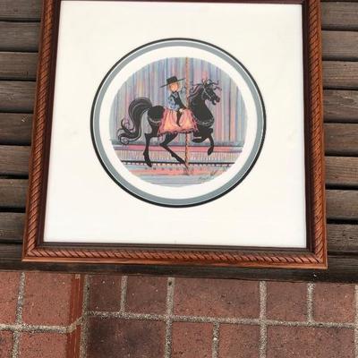Vintage 1986 P Buckley Moss -  LONE RANGER  - Boy on Rocking Horse - limited ed. 675/1000, signed, framed, 17