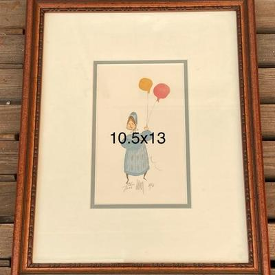 Vintage 1984 P. Buckley Moss -  BALLOON GIRL - limited ed., signed, framed, 10 X 13 INCHES, 998/1000