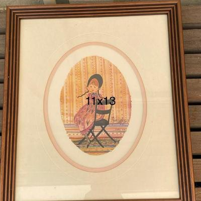 rare P. BUCKLEY MOSS PRINT GIRL W CHAIR SIGNED 1986 11