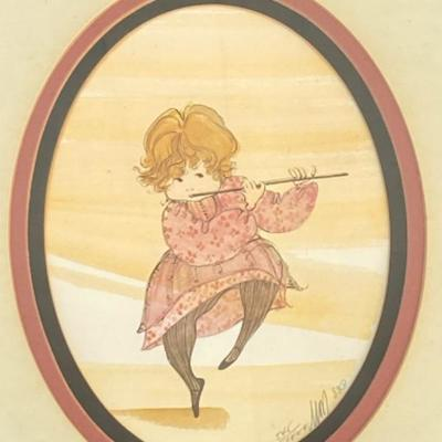1983 Artwork by P. Buckley Moss, flute player Limited Edition print  545/1000, 12