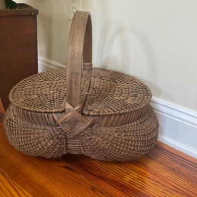 149: Antique Buttocks Basket with Faux Tree