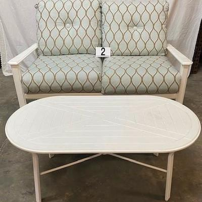 LOT#R2: Windward Outdoor Loveseat & Table (Purchased from Leaders)