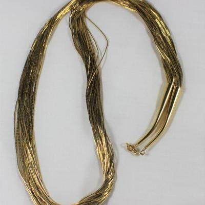 LOT#A9: Gold Washed Liquid Silver (Sterling) Necklace