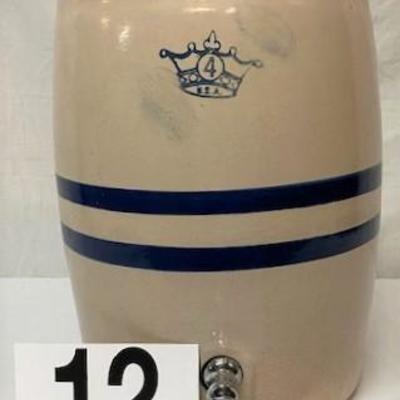 LOT#C12: #4 Stonewear Water Crock with Spout