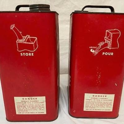 LOT#T16: 2 Vintage E-Z Pour Eagle Gas Filler Cans