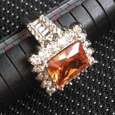 Sterling Silver Ring Size 8 Square Amber Center Stone Lot #4