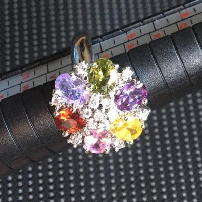 Sterling Silver Ring Size 9.5 with Multi Colored Round Stones Lot #9