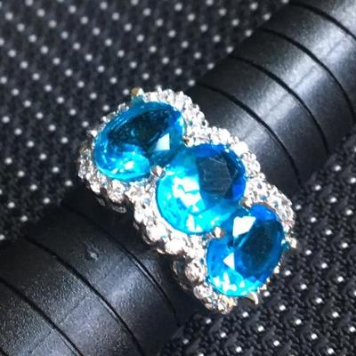 Sterling Silver Ring Size 9 With Blue Oval Stones Lot #10
