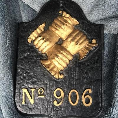 """Fire Plaque No. 906 """"Hand In Hand Insurance"""""""