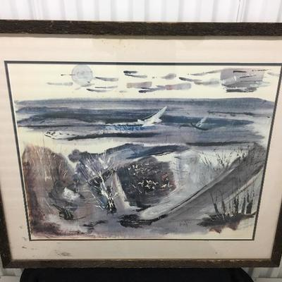 """c.1960 Fred Messersmith """"Shore Birds"""" Signed Lithograph"""
