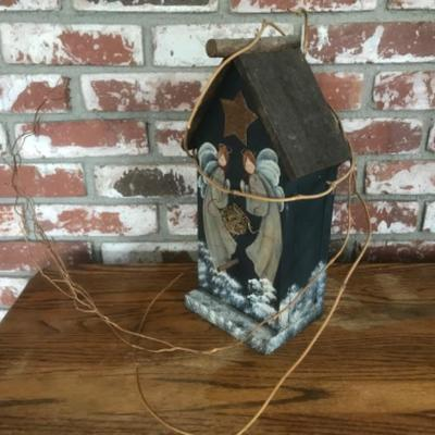 Decorated birdhouse, angels, wood