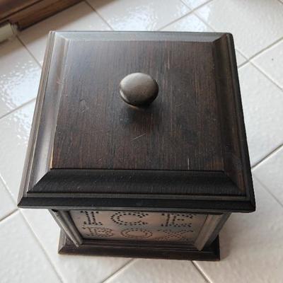 Vintage Pfaltzgraff Square Wooden Ice Bucket Metal Plated Bucket Box