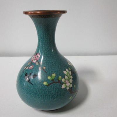 Lot 1 - Vintage Cloisonne Asian Flower Design Vase