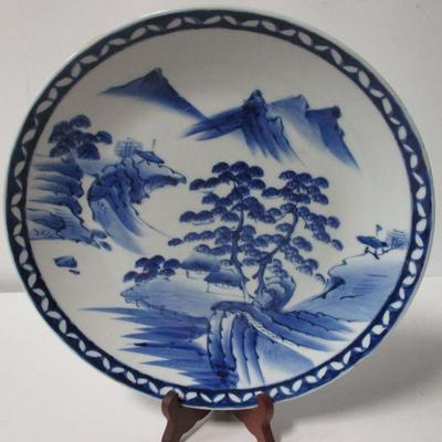 Lot 4 - Vintage Blue & White Chinoiserie Porcelain Plate Forest and Mountain Scape 12