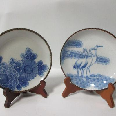 Lot 6 -Vintage Set of  Blue & White Porcelain Plates With Scallop Edge Blossom and Herons 7