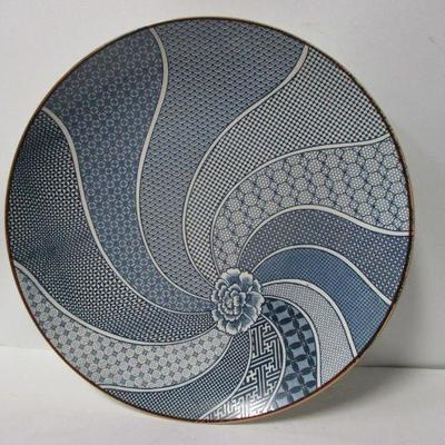Lot 10 - Vintage Blue & White Porcelain Asian Plate Blossom with Spiral Design 15