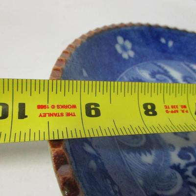 Lot 11 - Vintage Blue and White Porcelain Plate Mythical Bird Scalloped Edge 9
