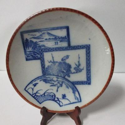 Lot 14 -  Vintage Blue and White Porcelain Plate 3 Panel Scalloped Edge 10