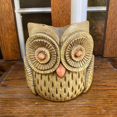 Vintage Sylvia Hood Chalkware Pottery Owl
