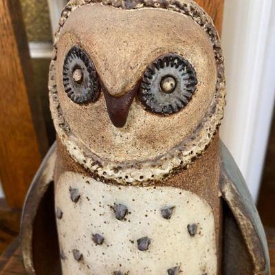 Vintage Glazed Stoneware Owl Figurine Signed