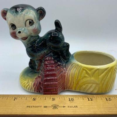 Vintage Ceramic Bear Lamb Planter