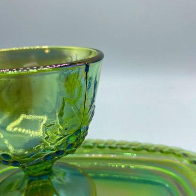 Green Carnival Glass Creamer, Sugar, and Butter Plate