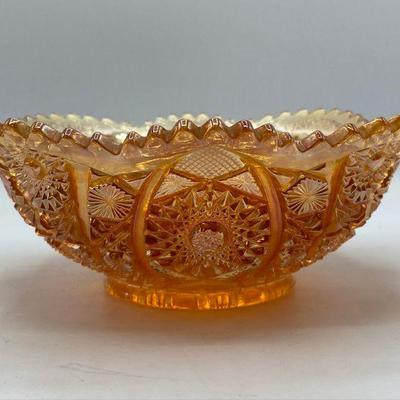 Imperial Marigold Carnival Glass Sawtooth Scalloped Fruit Bowl