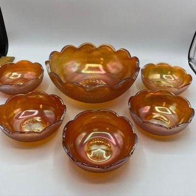 Vintage Marigold Jeanette Glass Fruit Bowl Set