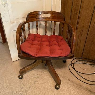 Small Wood Spindle Barrel Chair on Wheels
