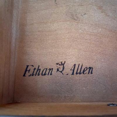 Vintage Ethan Allen Old Tavern Dark Antiqued Pine Dresser with Mirrored Hutch