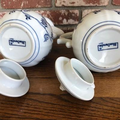 Lot of 2 - Blue Danabe coffee pot or tea pot blue design on white background