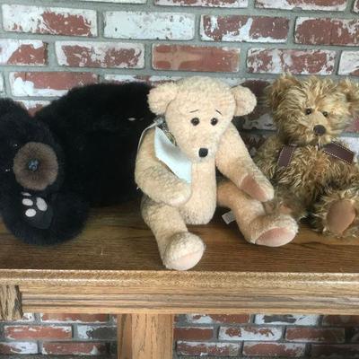 3 bears - plush lot, brown bear laying down, two sitting up