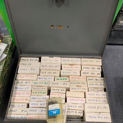 #84 Grey Storage Box Full of Vintage Hooks in Original Boxes