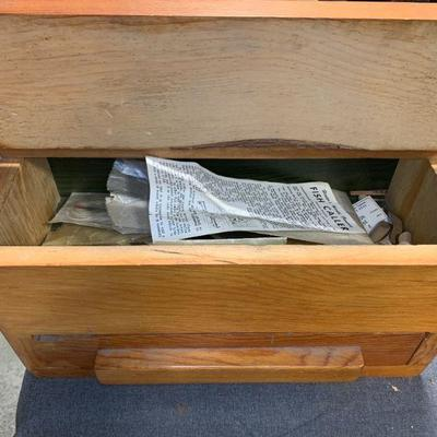 #102 Wooden Storage Box With Vintage Hooks & Split Shots Included