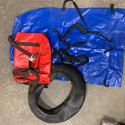 #7 Blue Inflatable Raft, Misc. Tube & Red Bag