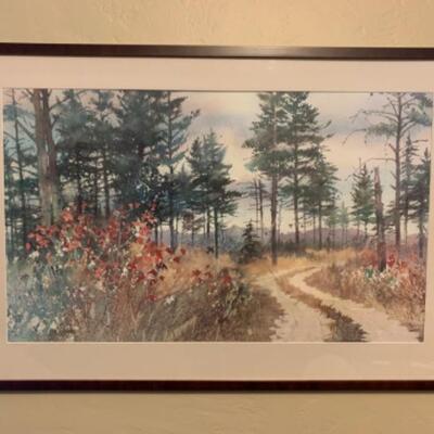 """11. Framed art of country scene (25""""x37"""")"""