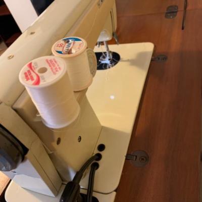16. Viking Husqavarna sewing machine (6300-series) in walnut wood cabinet and chair