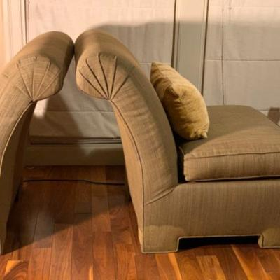 2. Pair of Upholstered Occasional  Chairs with Rectangular Pillows
