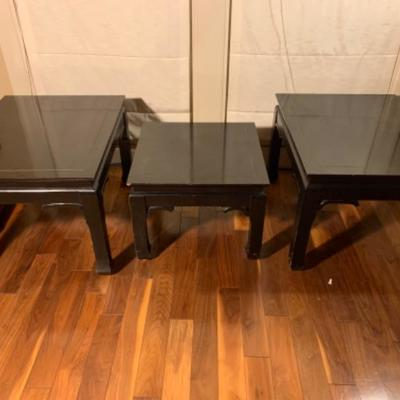 6. 3 Black Asian Wooden Tables
