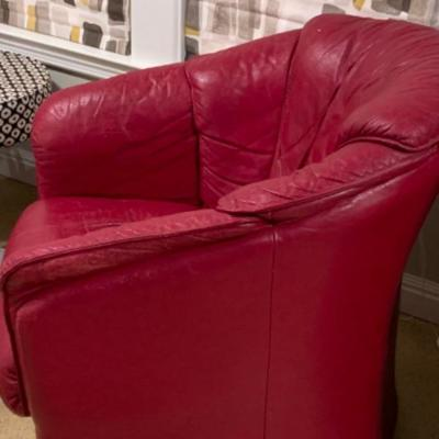9. Pair of Red Leather Swivel Club Chairs