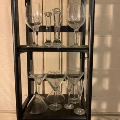 11. Collection of Glass Stemware, Candlesticks, Vase, Cordial, and Martini Glasses