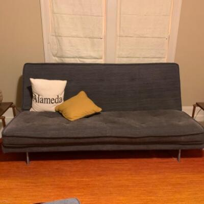 19. Queen Size  Ligne Roset Futon and Metal Frame.
