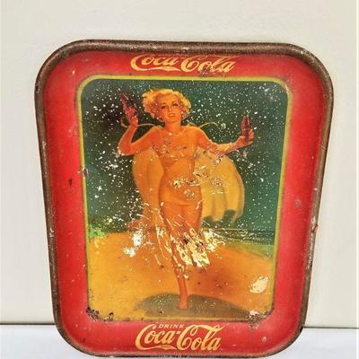 Lot #2  Original Coca-Cola Advertising Tray - 1937 Bathing Beauty