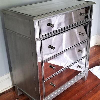 Lot #6  Contemporary Mirrored Chest of Drawers - Good condition