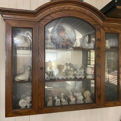 Large Oak Wall Hanging Display Curio Cabinet, 38